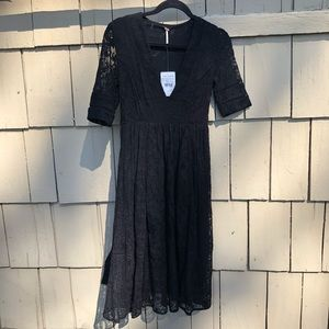 Free People NWT Black Mountain Laurel Lace Dress